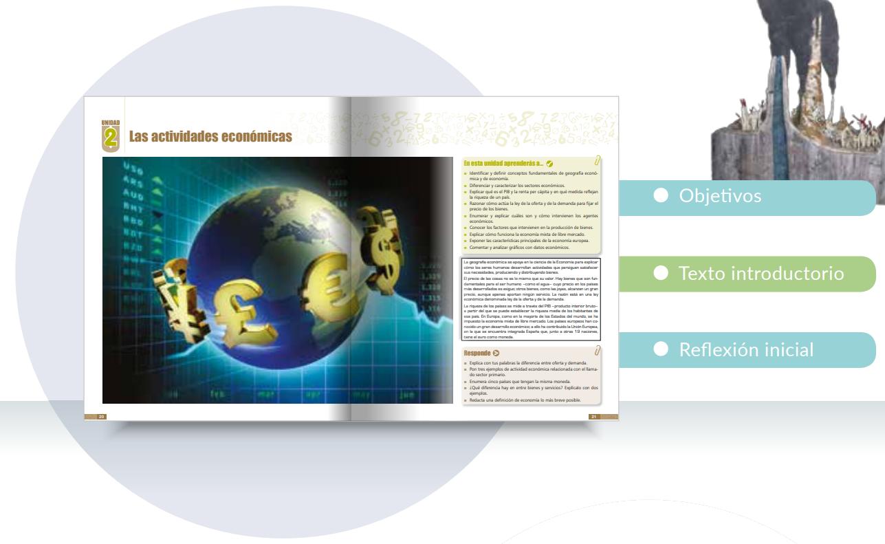 Organización del contenido de los libros de texto de Geografía e Historia de la ESO.